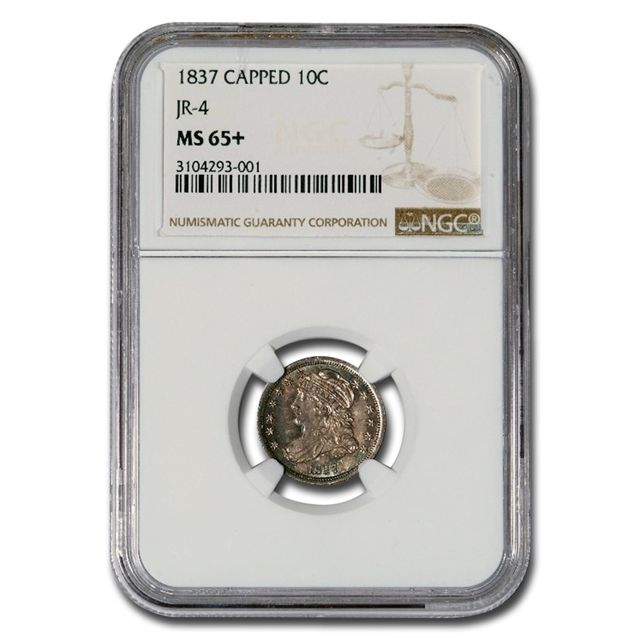 1837 Capped Bust Dime MS-65+ NGC (JR-4)