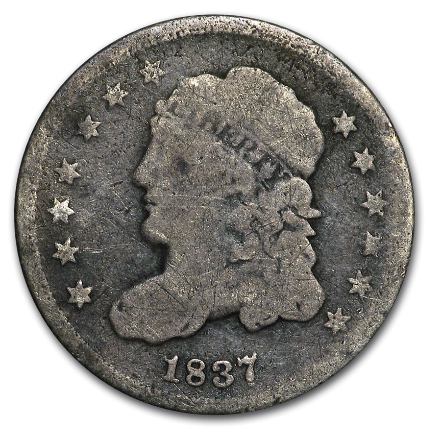 1837 Capped Bust Half Dime Large 5¢ VG