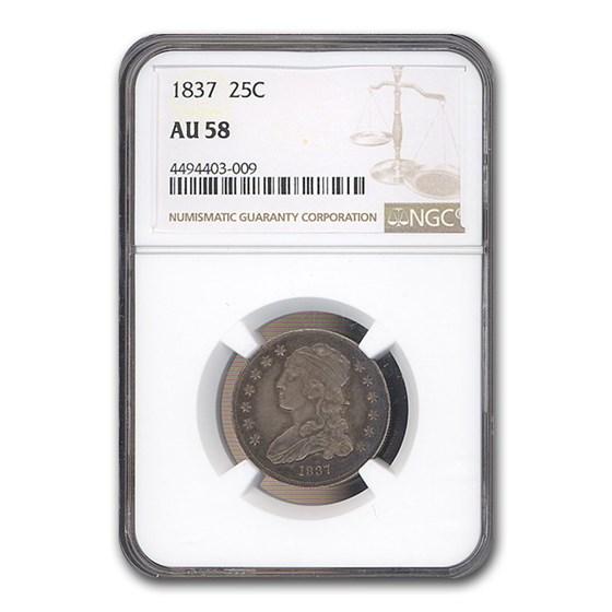 1837 Capped Bust Quarter AU-58 NGC
