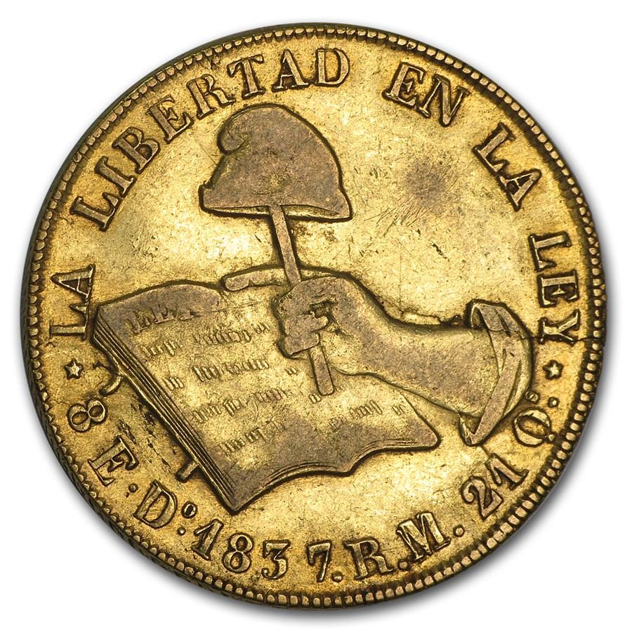 1837 Do RM Mexico Gold First Republic 8 Escudos VF Details