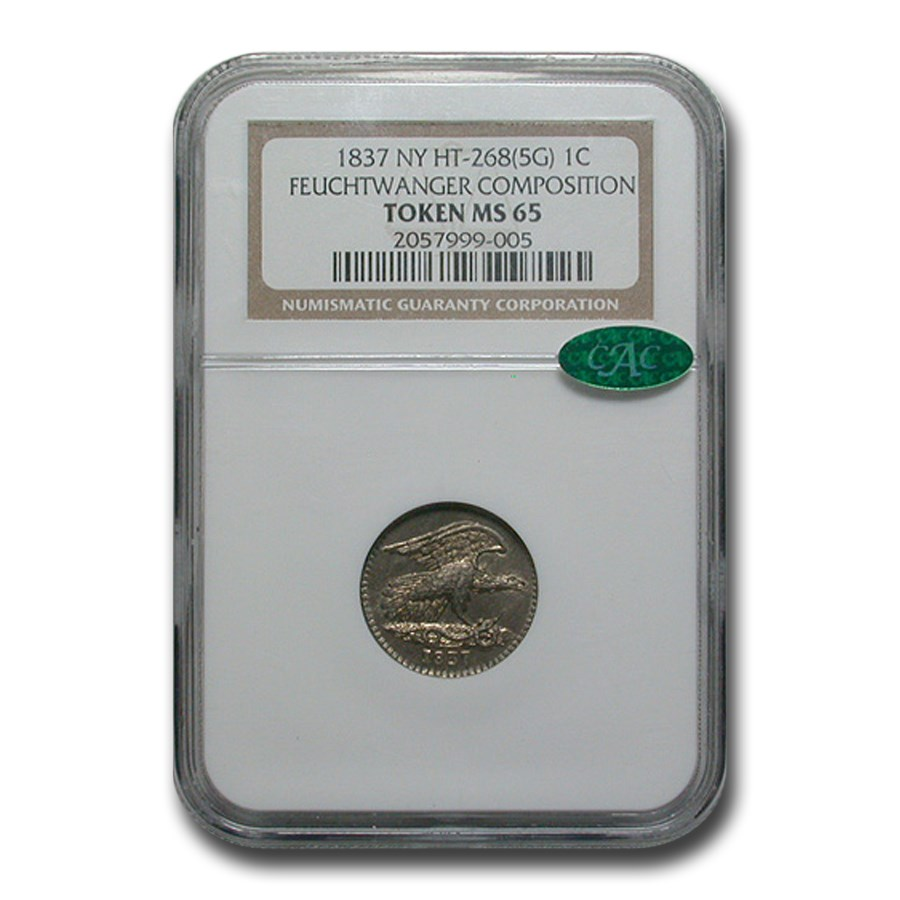 1837 Feuchtwanger One Cent Hard Times Token MS-65 NGC CAC