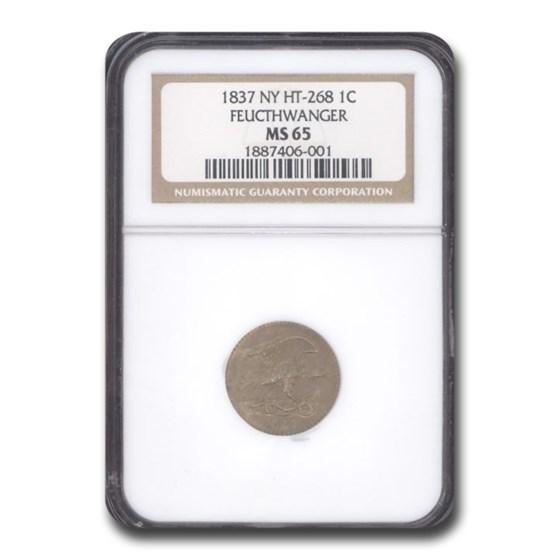 1837 Feuchtwanger One Cent Hard Times Token MS-65 NGC