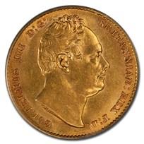 1837 Great Britain Gold Sovereign William IV AU-58 PCGS