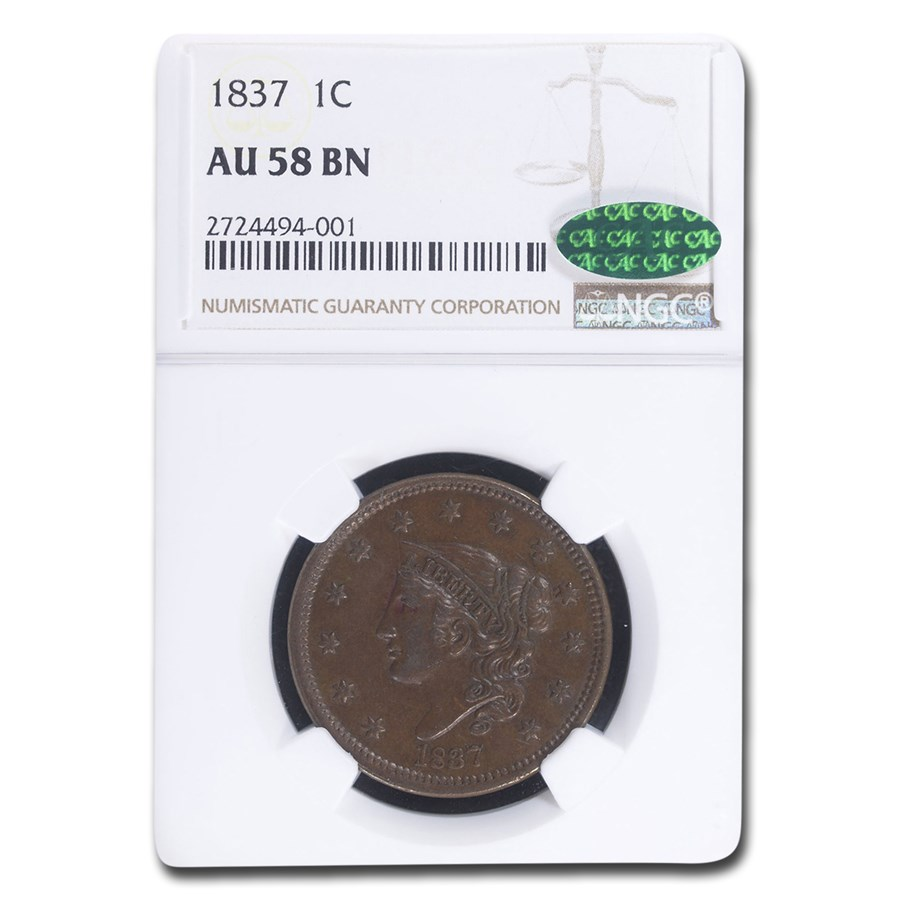 1837 Large Cent AU-58 NGC CAC (Brown)