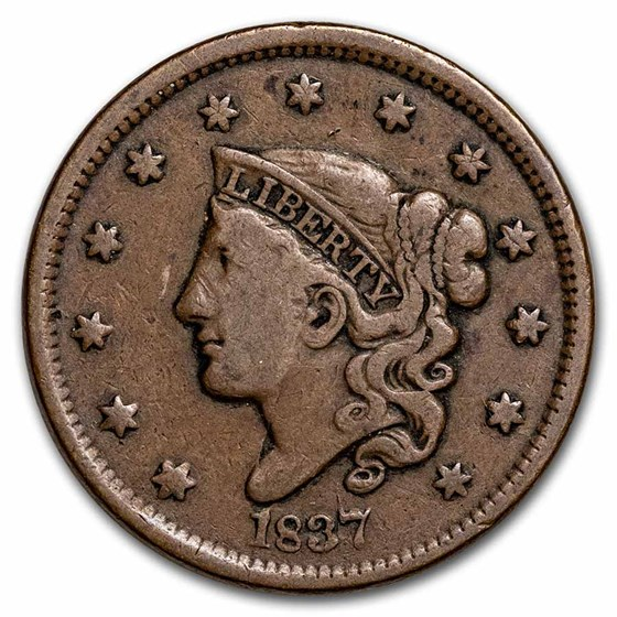 1837 Large Cent Head of 1838 Beaded Cord VF