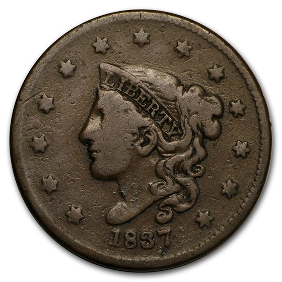 1837 Large Cent Head of 1838 Fine