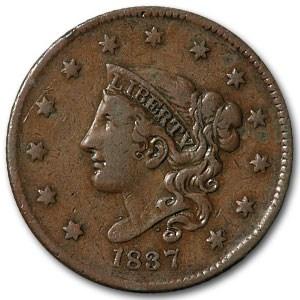 1837 Large Cent Plain Cord Medium Letters VF