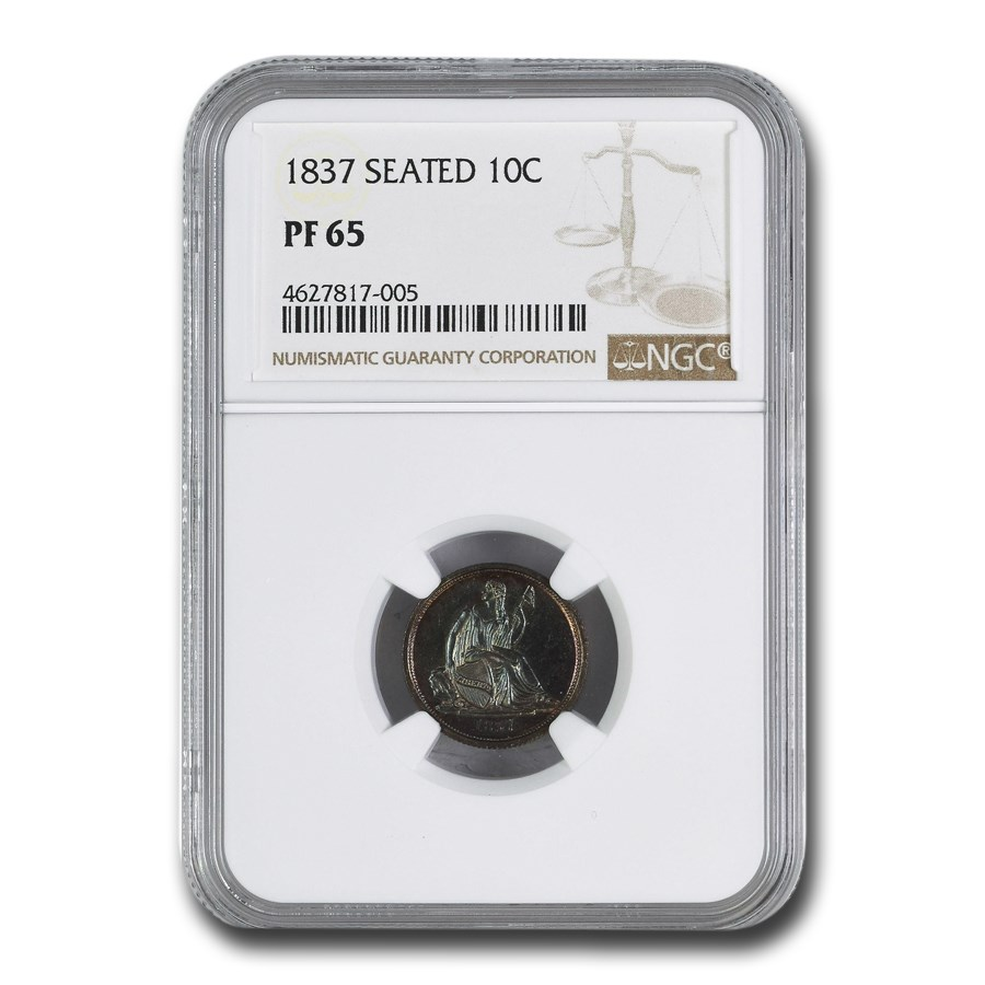 1837 Liberty Seated Dime PF-65 NGC (Large Date)