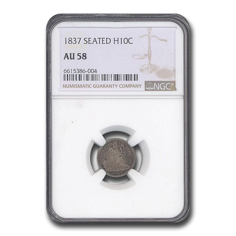 1837 Liberty Seated Half Dime AU-58 NGC
