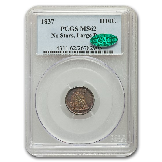 1837 Liberty Seated Half Dime MS-62 PCGS CAC (No Stars, Lg Date)