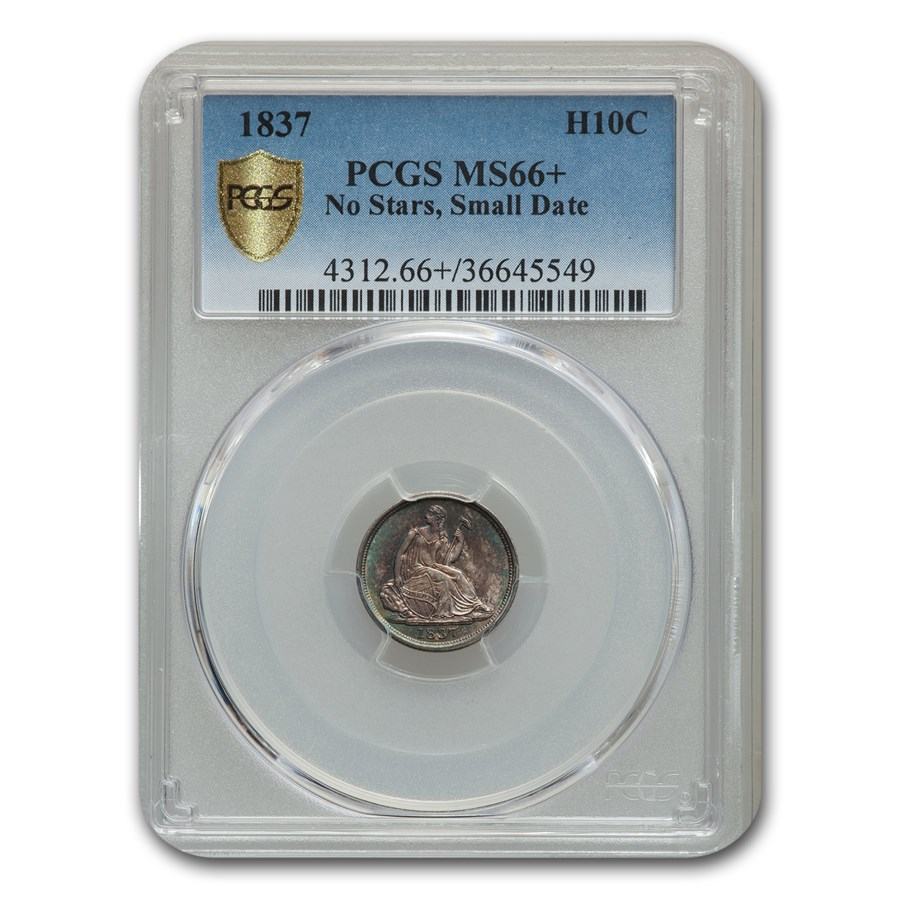 1837 Liberty Seated Half Dime MS-66+ PCGS (No Stars, Small Date)