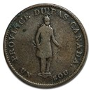 1837 Quebec Half Penny Token VG (Quebec Bank on ribbon)