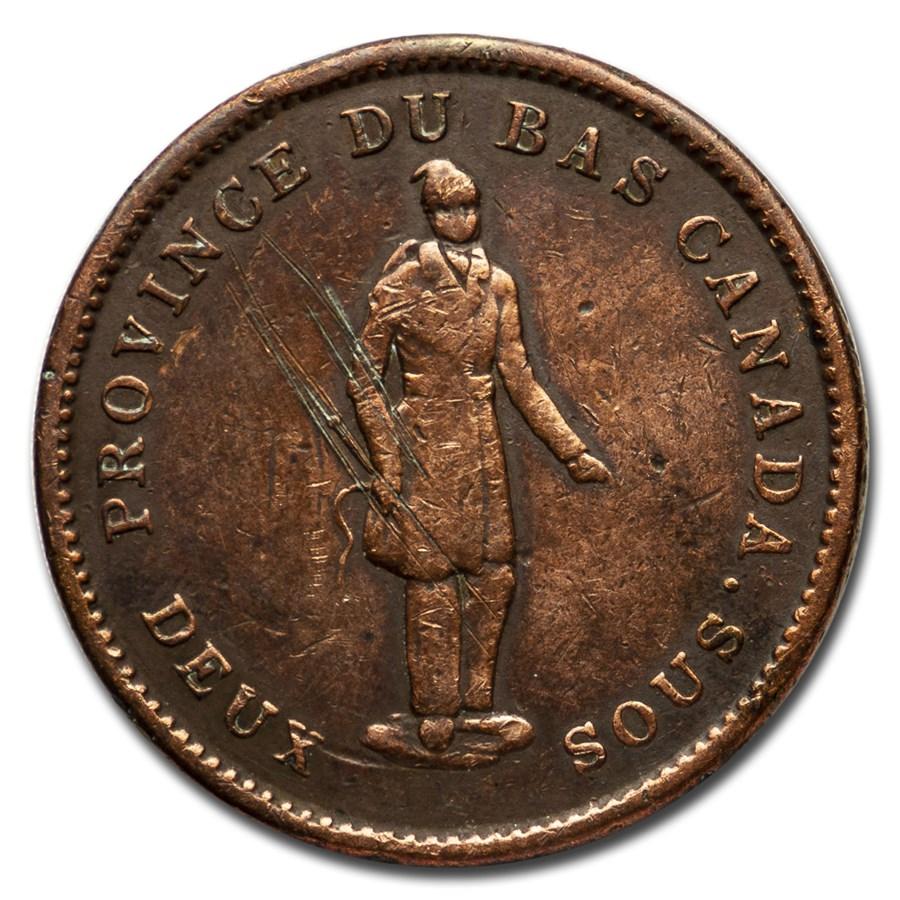 1837 Quebec Penny Token Fine Details (Cleaned,obv scratched)