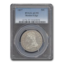 1837 Reeded Edge Half Dollar AU-55 PCGS