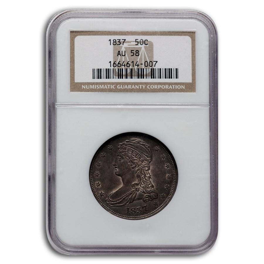 1837 Reeded Edge Half Dollar AU-58 NGC