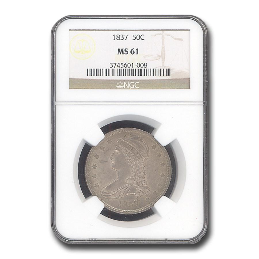 1837 Reeded Edge Half Dollar MS-61 NGC