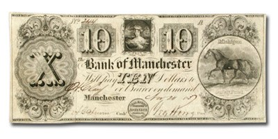 1837 The Bank of Manchester $10 MI-250 XF