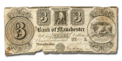 1837 The Bank of Manchester $3 MI-250 VF