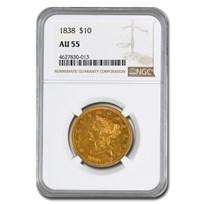 1838 $10 Liberty Gold Eagle AU-55 NGC