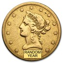 1838-1866 $10 Liberty Gold Eagle No Motto (Cleaned)