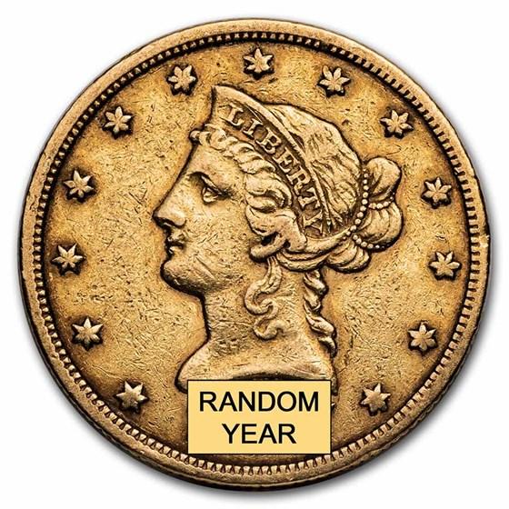 1838-1866 $10 Liberty Gold Eagle No Motto VF