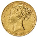 1838-1873 Great Britain Gold Sovereign Victoria Shield (Avg Circ)