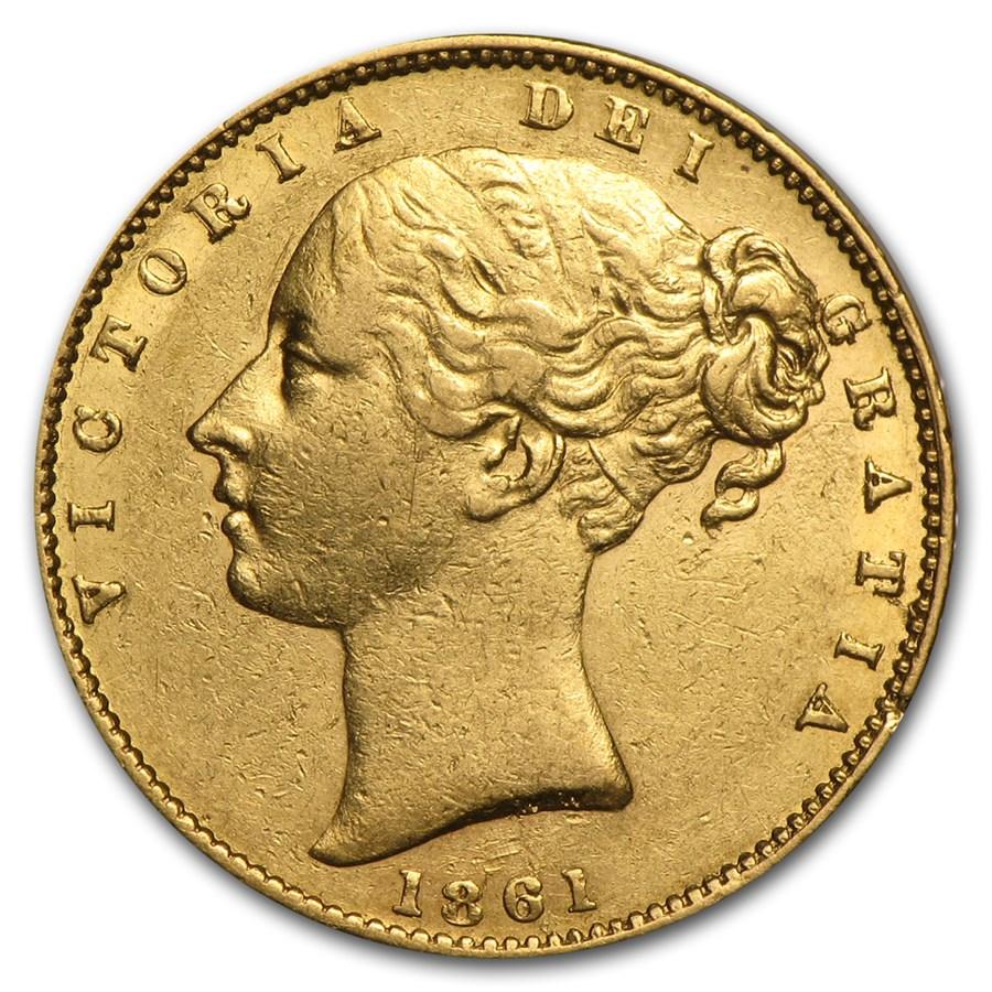 1838-1874 Great Britain Gold Sovereign Victoria Shield AU