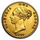 1838-1885 Great Britain Gold 1/2 Sovereign Victoria Young Head XF