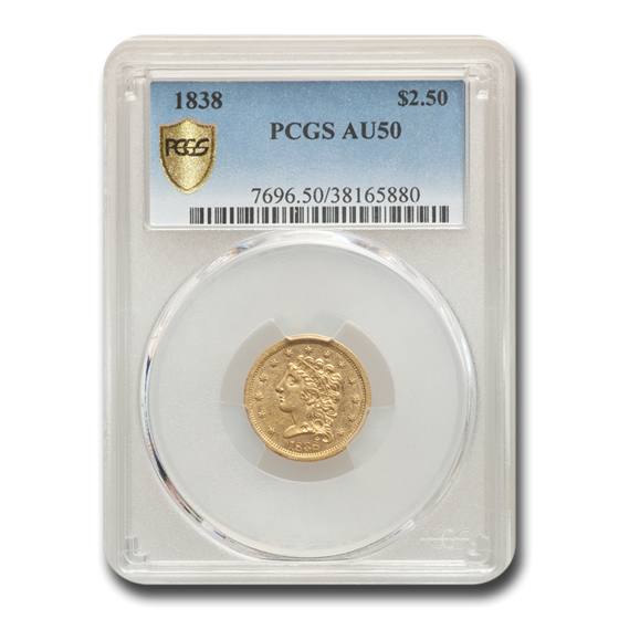 1838 $2.50 Gold Classic Head Quarter Eagle AU-50 PCGS