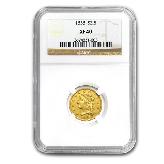 1838 $2.50 Gold Classic Head XF-40 NGC