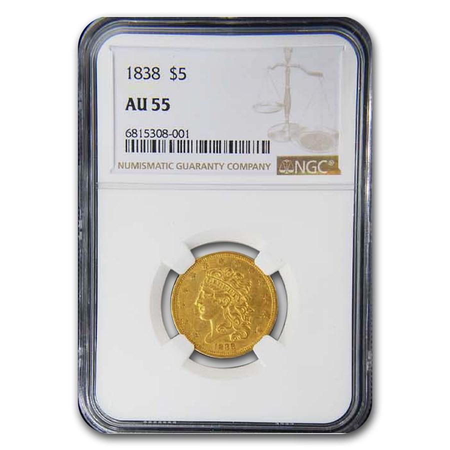 1838 $5 Gold Classic Head Half Eagle AU-55 NGC