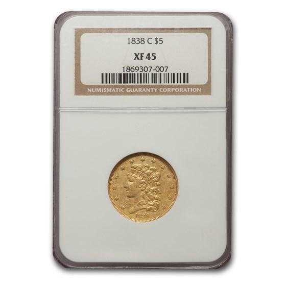 1838-C $5 Classic Head Half Eagle XF-45 NGC