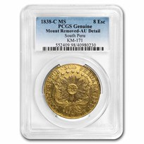 1838-C MS South Peru Gold 8 Escudos AU-Details PCGS