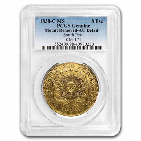 1838-C MS South Peru Gold 8 Escudos AU-Details PCGS
