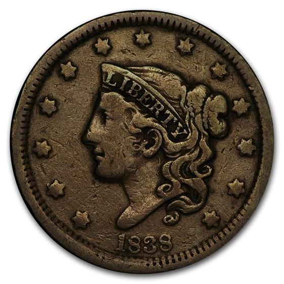 1838 Large Cent Fine