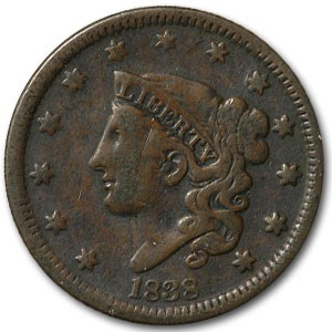 1838 Large Cent VG