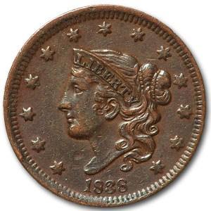 1838 Large Cent XF Details