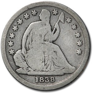 1838 Liberty Seated Dime Large Stars VG