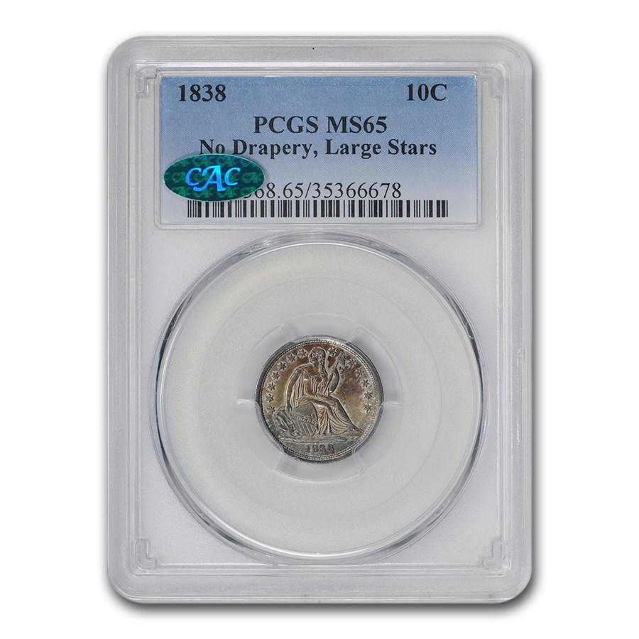 1838 Liberty Seated Dime MS-65 PCGS CAC (No Drapery, Large Stars)