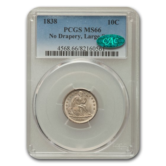 1838 Liberty Seated Dime MS-66 PCGS CAC (No Drapery, Lg Stars)