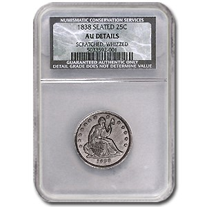 1838 Liberty Seated Quarter AU Dtls NCS (Scratched & Whizzed)
