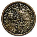 (1838) Lower Canada 1 Sou Montreal Banque Du Peuple VF (Brass)