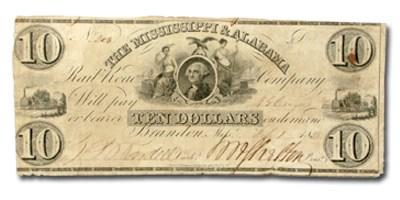 1838 Mississippi & Alabama Rail Road Co $10.00 MS-25 XF