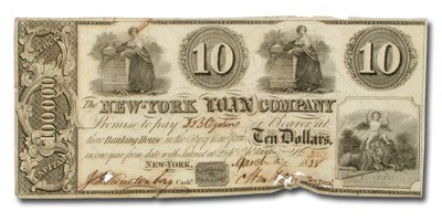 1838 New York Loan Company $10.00 Unlisted in Haxby