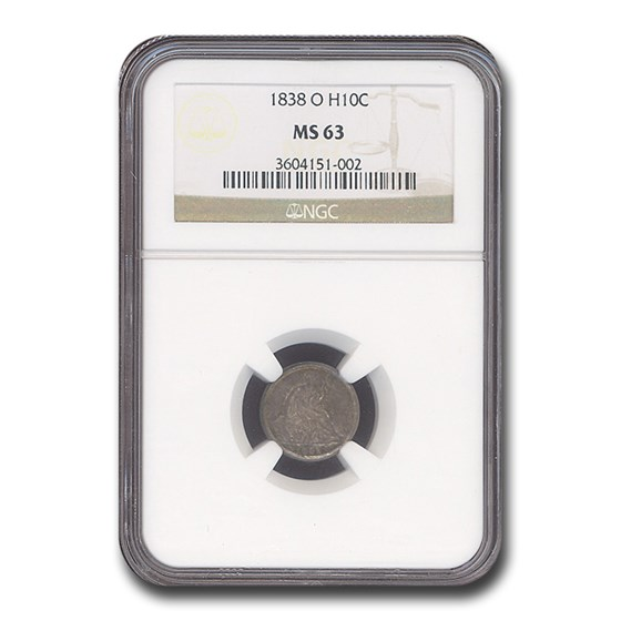 1838-O Liberty Seated Half Dime MS-63 NGC