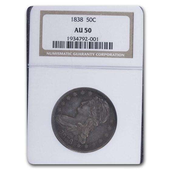 1838 Reeded Edge Half Dollar AU-50 NGC