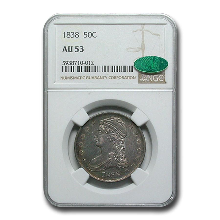 1838 Reeded Edge Half Dollar AU-53 NGC CAC
