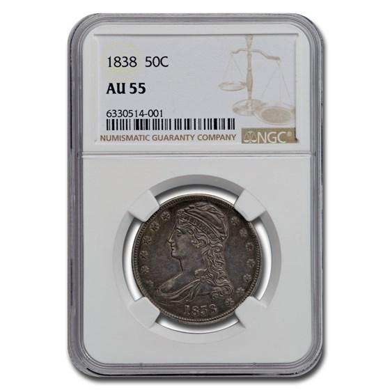 1838 Reeded Edge Half Dollar AU-55 NGC