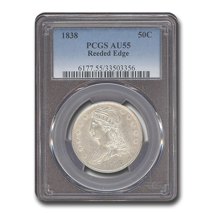 1838 Reeded Edge Half Dollar AU-55 PCGS