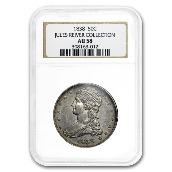 1838 Reeded Edge Half Dollar AU-58 NGC